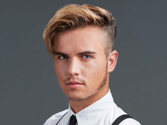 Medium Side Swept Men's Hairstyle