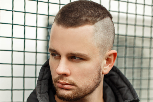 Buzz Cut with Stubble Beard and shaved side